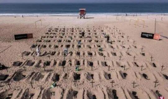 """巴西里约热内卢一非营利组织在海滩开凿100座""""坟墓"""",抗议政府应对疫情不力。/社交媒体截图"""