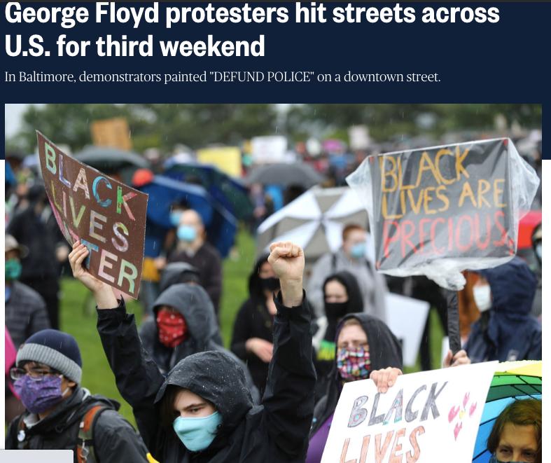 美国港口城市巴尔的摩的反种族歧视抗议仍在继续。/美媒NBC页面截图