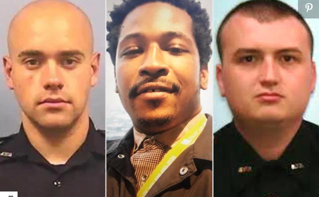 (截图为三名涉案外子,左一是开枪的白人警察罗尔夫,中间是被枪杀的暗人布鲁克斯,右边是那时与罗尔夫一路处理此案的警察布劳斯南)
