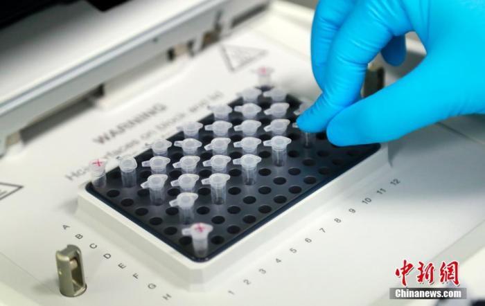 资料图:科研人员在演示新型冠状病毒mRNA疫苗研发试验过程。</p> <img id=