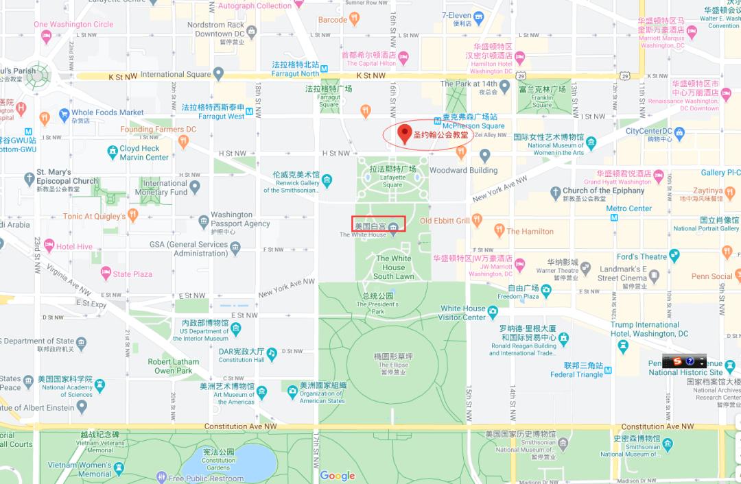 谷歌地图表现,圣约翰大教堂紧邻白宫。