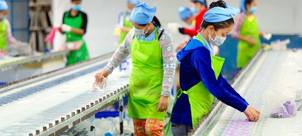 柬埔寨工厂流水线上的工人。