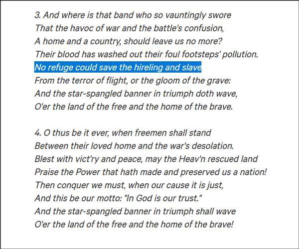 美国国歌第三和第四节歌词 图自change.org网站