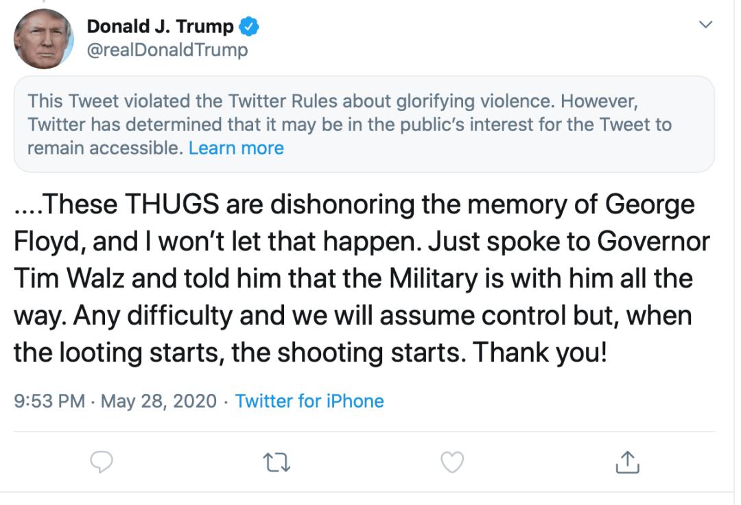 """特朗普5月28日的发文被推特标记为""""暴力言论""""。</p> <img id="""