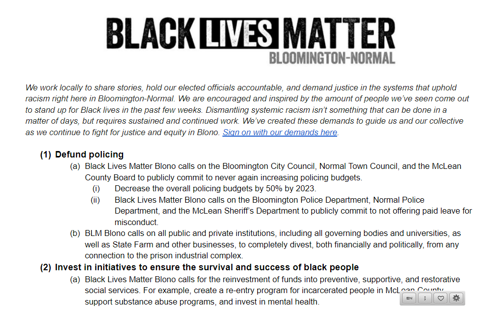 图片截取自黑人抗议者发起倡议的谷歌文档