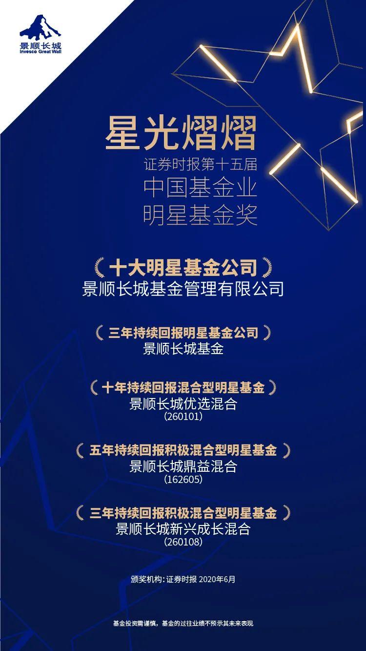 【红包】景顺长城连续3年拿下明星基金公司,三、五、十年期均有基金获奖!