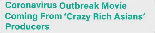 好莱坞将拍新冠疫情电影,讲述疫情在中国爆发最开始几周里发生的故事