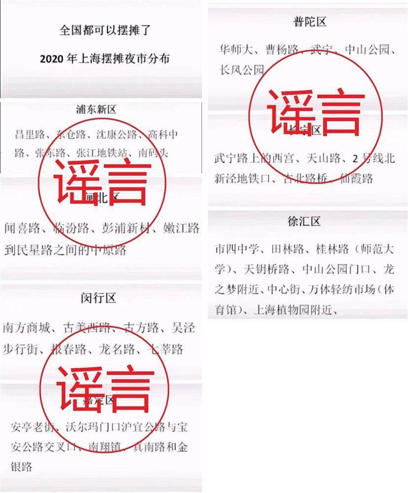 """上海公布""""摆摊夜市分布图""""?官方:假的"""
