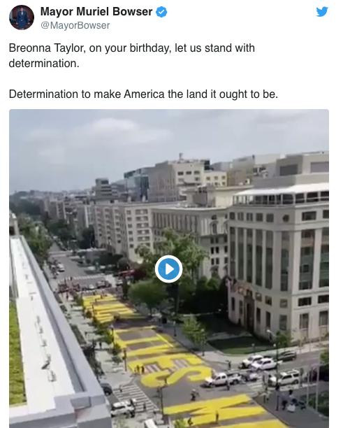 鲍泽发文纪念美国黑人女子布雷安娜·泰勒。/推特