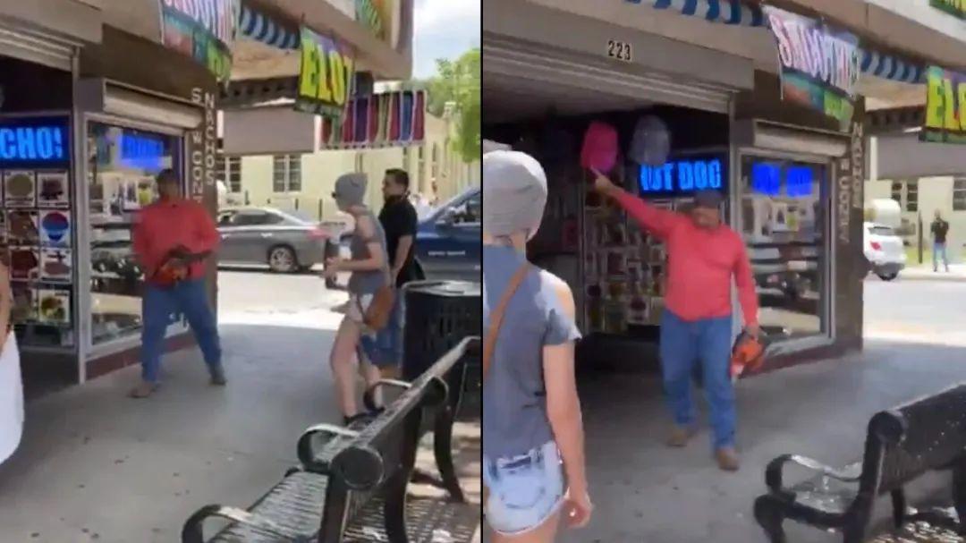 阻止抗议新姿势——手持电锯,与抗议者对峙
