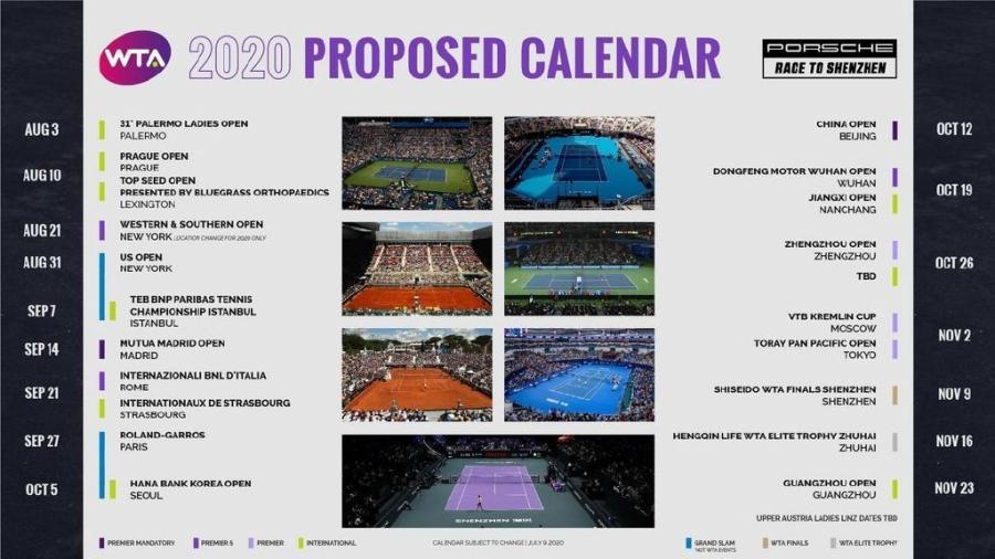更新后的WTA一时赛历。图片来源:WTA网站