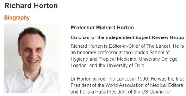 ▲世界卫生组织官网上对霍顿的介绍