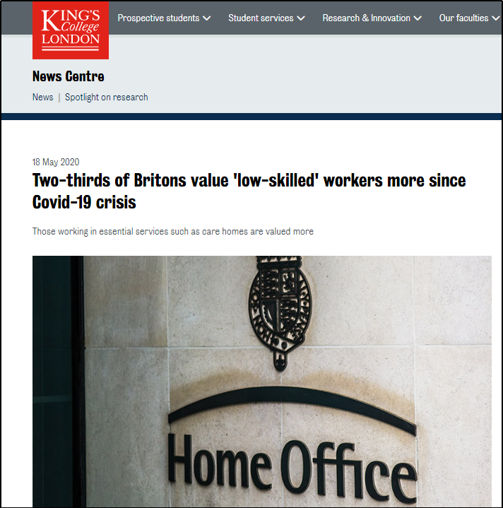 图片截取自伦敦大学国王学院官网