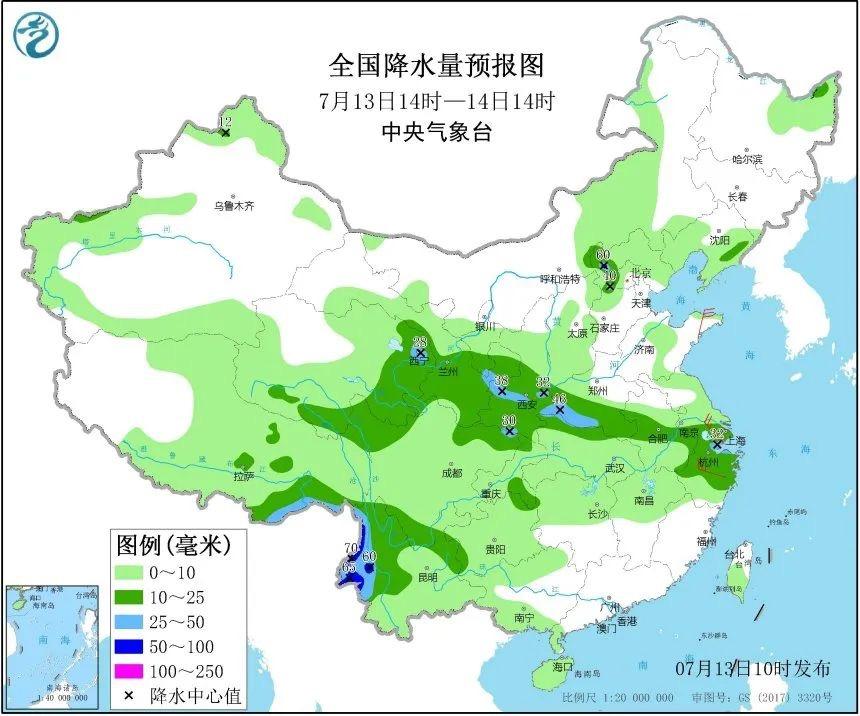 7月13日14时-14日14时全国降水量预报图。图片来自中央气象台