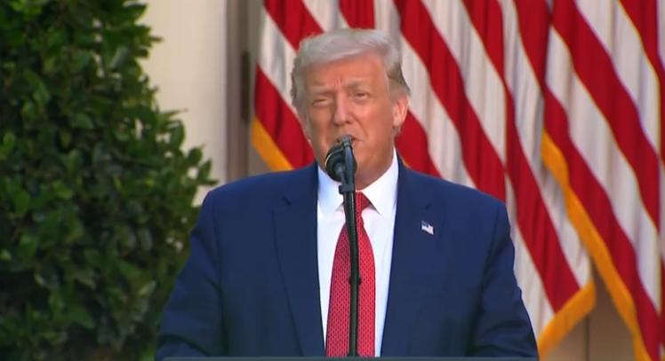 特朗普在白宫玫瑰花园发表演说(视频截图)