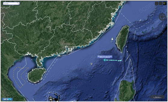 """""""南海战略态势感知计划""""平台7月15日发布的美军E-8C飞机飞走路线"""