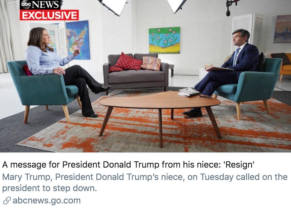 玛丽给特朗普的留言:辞职吧。/ ABC报道截图
