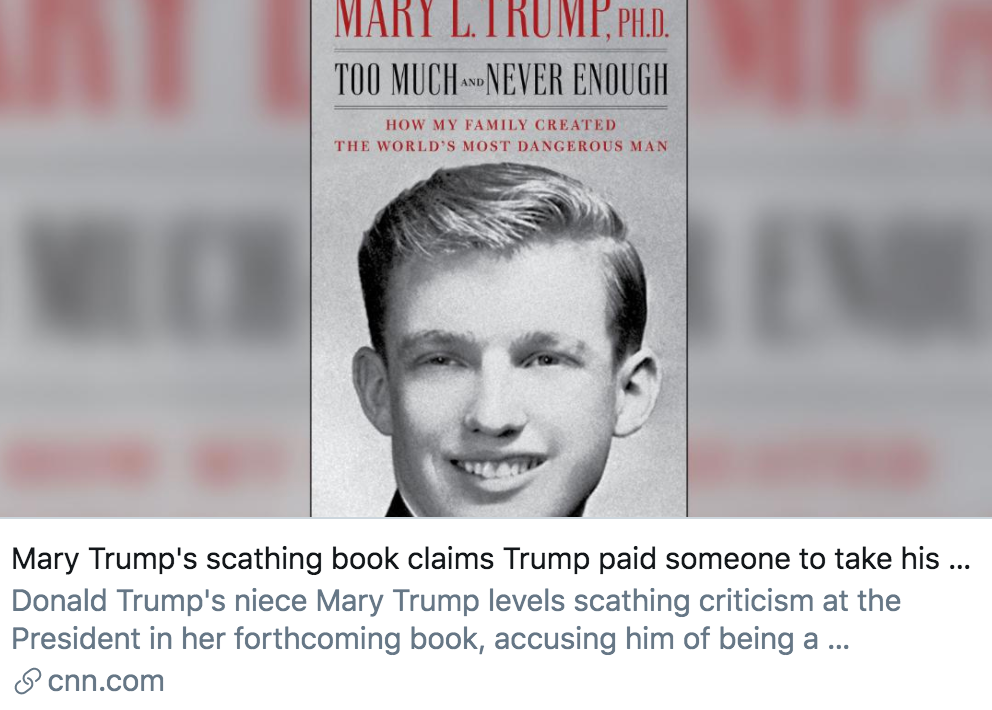 玛丽在书中挑到特朗普曾付钱给替他考SAT的人。/ CNN报道截图