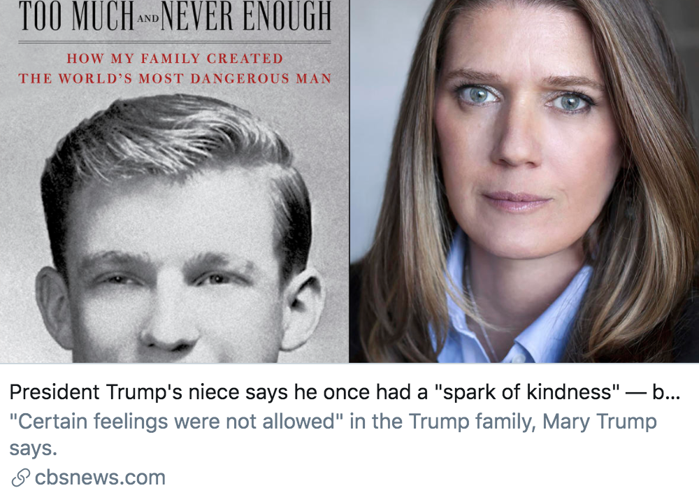 """玛丽在书中挑到,特朗普曾有过""""驯良的念头"""",但被他的父亲""""损坏了""""。/ CBS报道截图"""