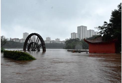 7月15日,重庆荣昌濑溪河展现超保证水位洪水。 新华社 图