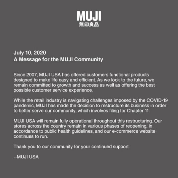 图| 无印良品(Muji)的美国分公司申请休业珍惜