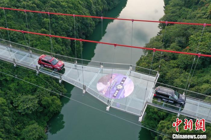 两辆汽车开上了玻璃桥 曾令华 摄