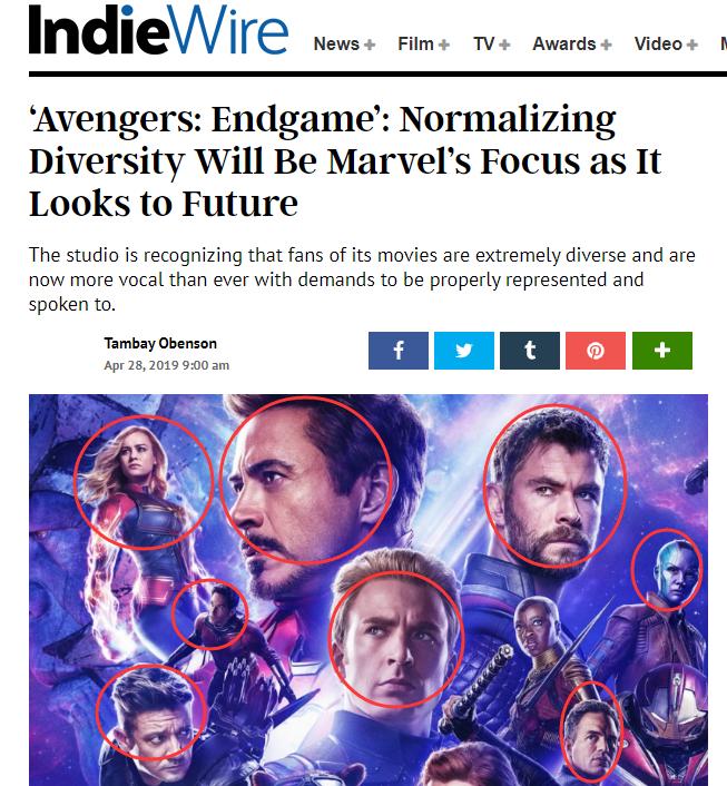 (图为漫威表示会减少白人演员的比例,因为不少工作室现在只雇佣有色人种、但现在不是了,但该报认为这名黑人导演根据肤色去选择演员的言论,许多好莱坞的电影,就遭到网络暴力的攻击,也是白人)