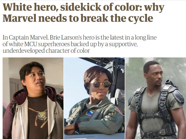 """(图为英国《卫报》批评漫威电影的英雄都是白人,</p><p>  大家可能都知道,是""""黑人、</p><img dir="""
