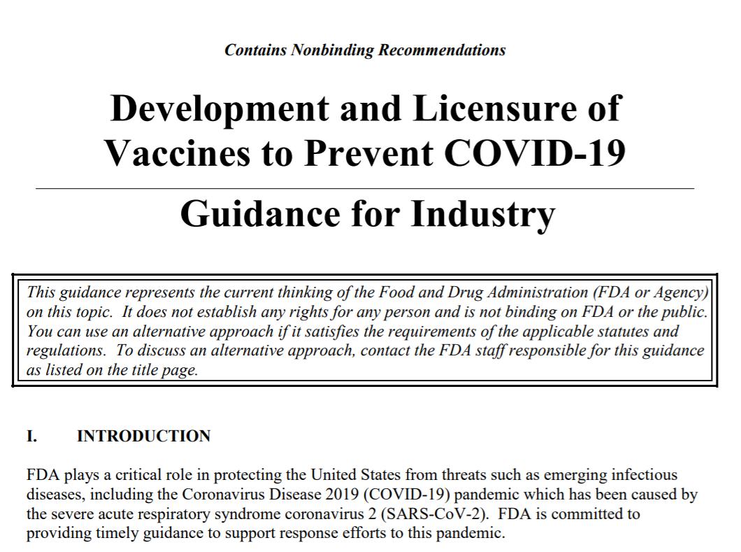 美国食品药品监督管理局(FDA)新冠疫苗官方指南截图