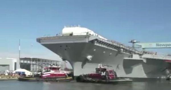 """建造中的""""福特""""级航母二号舰""""约翰·肯尼迪""""号(美国雅虎新闻网站)"""