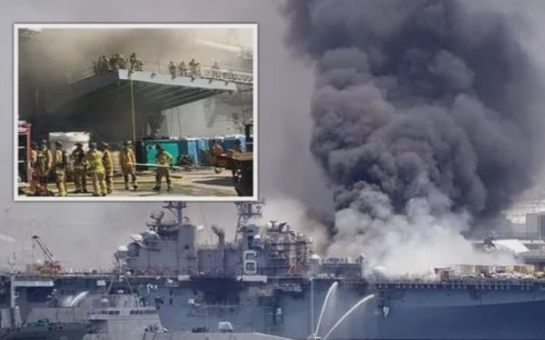 14个舱段烧毁11个:美将领披露两栖舰起火损失详情