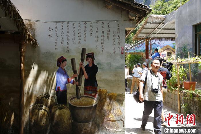 """艺术家将当地自然、人文环境、黎乡故事等画在村民居所墙壁上,打造""""流动的黎族文化博物馆""""。 记者王晓斌 摄"""