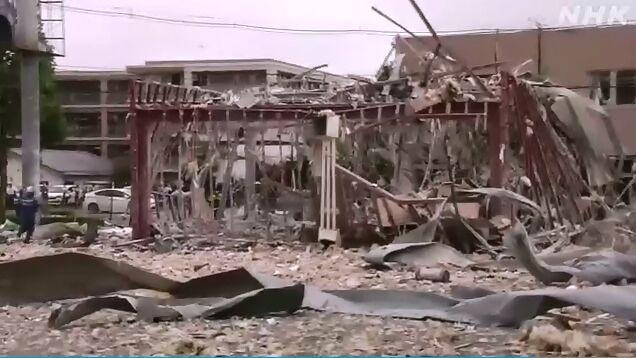 当地时间30日上午9时许,日本福岛县郡山市发生爆炸,已致1人死亡17人受伤。图片来源:日本放送协会(NHK)视频截图
