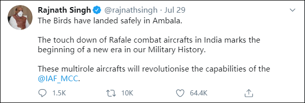 印度5架陣風戰機到貨 印防長發推暗示中國