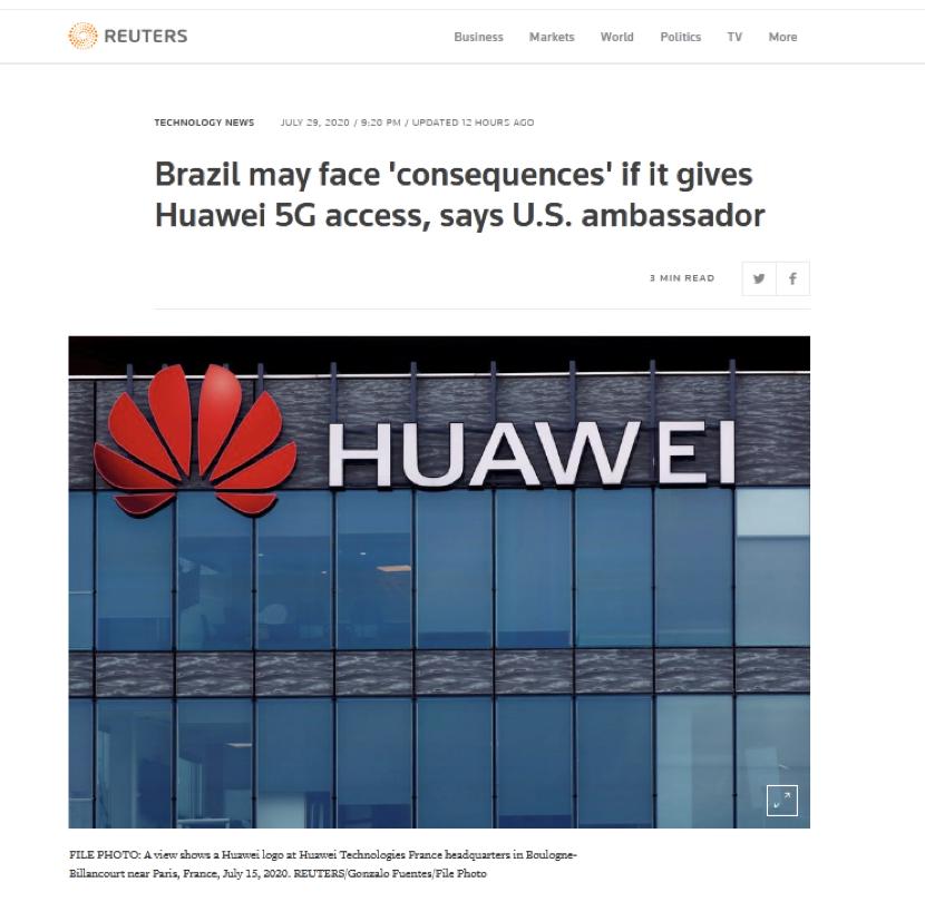 """美驻巴西大使:若允许华为参与5G建设 则可能面临""""后果"""""""