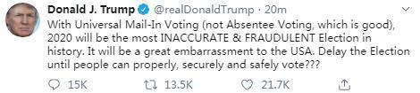 美国总统特朗普在社交媒体上发文称,邮寄投票或构成选举欺诈。(图片黑白截自美国总统特朗普社交媒体账号)