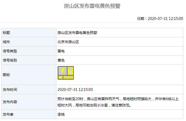 北京多区发布雷电黄色预警,房山区6级大风