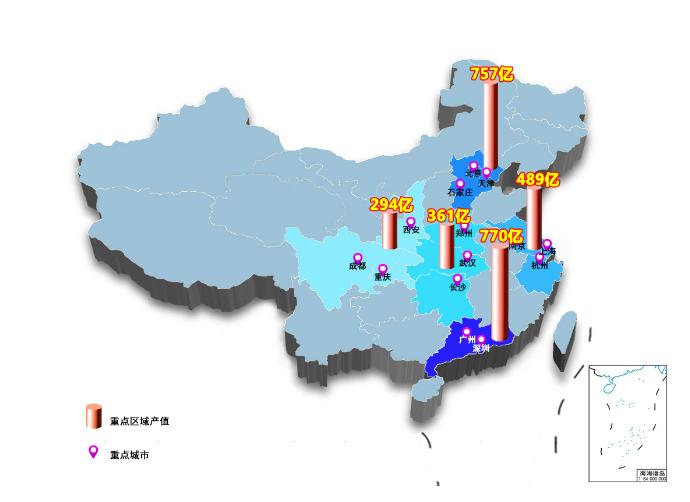 我国卫星导航与位置服务产业重点县产值分布。