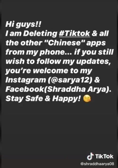 抖音博主@shraddhaarya08 清空抖音后最后一条更新,喊话粉丝转战Ins和脸书