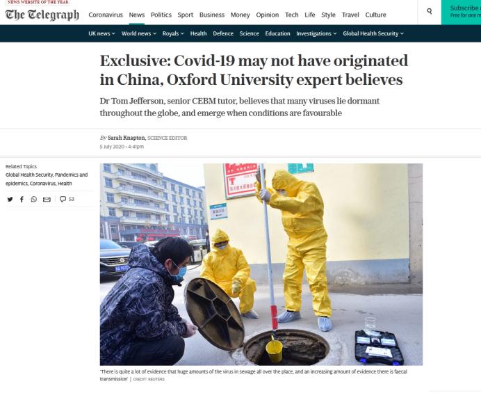 牛津大学学者:新冠病毒可能并非起源于中国