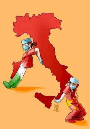 今年3月,意大利女孩作画感谢中意抗疫合作