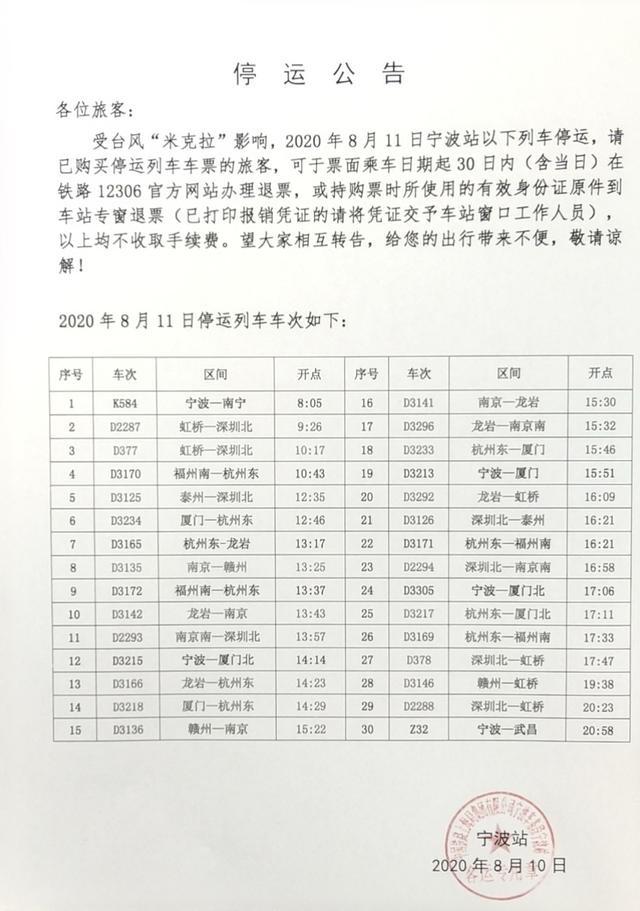 """受台风""""米拉克""""影响 今天宁波站30趟高铁动车组停运"""