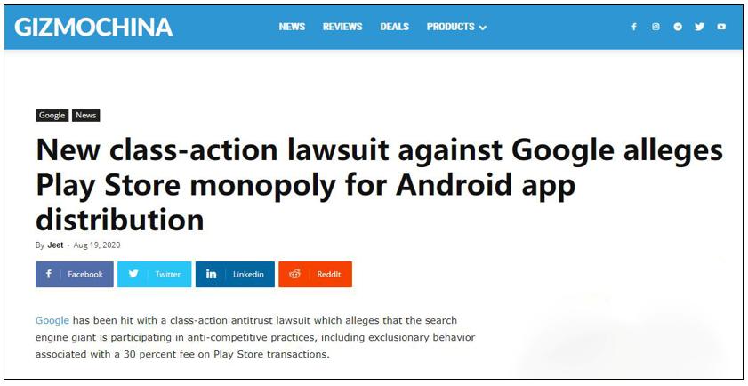 谷歌再遭起诉 应用商店被指垄断