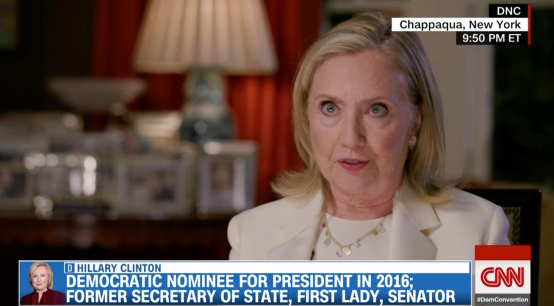 希拉里·克林顿在民主党大会上说话。/CNN视频截图