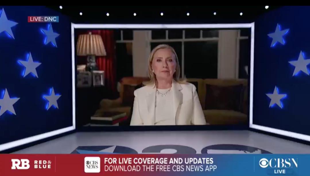 希拉里·克林顿在民主党大会上说话。/CBS视频截图