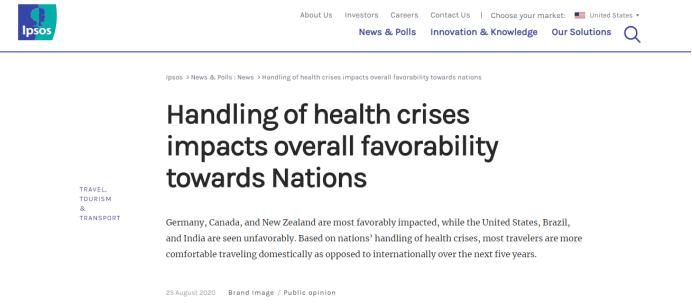 益普索民调:疫情应对净支持率 美国在50个国家和地区中排倒数第一
