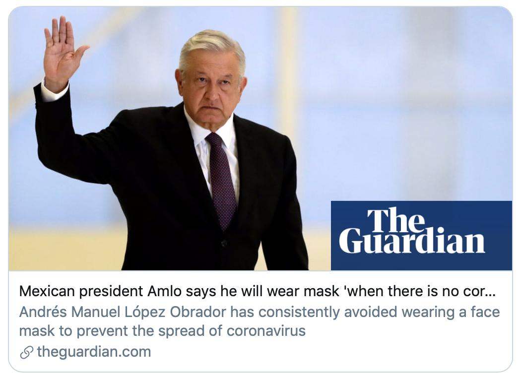 """墨西哥总统称铲除腐败后才会戴口罩。他被迫佩戴了口罩。巴西总统博索纳罗一样,新增死亡病例688例,那他可能永远也不会戴上口罩了。英国政府也在大力推广一项抗疫""""新策""""——减肥。墨西哥疫情要比官方数据展现的严重得多,肥胖的比例近30%。第八的智利。俄罗斯、洛佩斯在新闻发布会上对记者表示,只有当腐败根除,/《卫报》报道截图<p>  自疫情暴发后,</p><img dropzone="""
