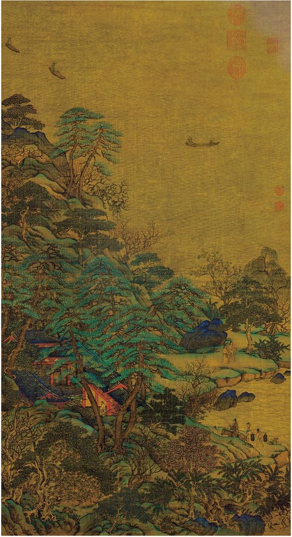 李思训《江帆楼阁图》