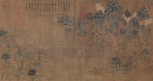 ▲展子虔《游春图》/中国最早的青绿山水画。
