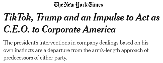 美媒:特朗普以为自己是美国CEO 滥用总统权力打压企业